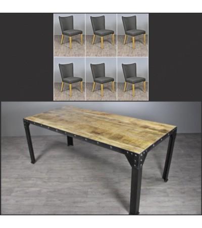 "Table de Repas ""Rivets"" 180 cm + 6 chaises en tissu ""Lipari"""