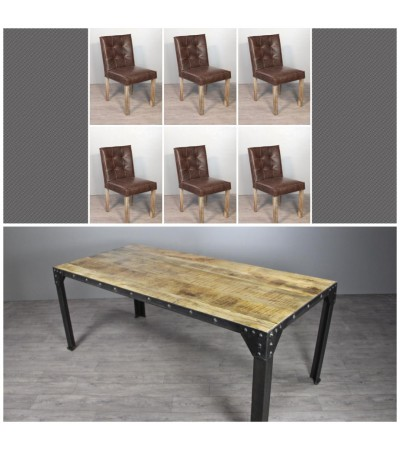 "Table de Repas ""Rivets"" 180 cm + 6 chaises en cuir marron ""Cambridge"""