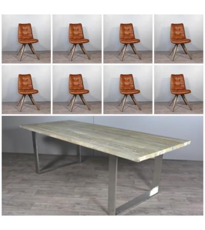 """Table de Repas en bois """"Austin"""" 240 cm + 8 chaises en cuir marron  vintage"""