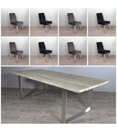 """Table de Repas en bois """"Austin"""" 240 cm + 8 chaises en velours"""