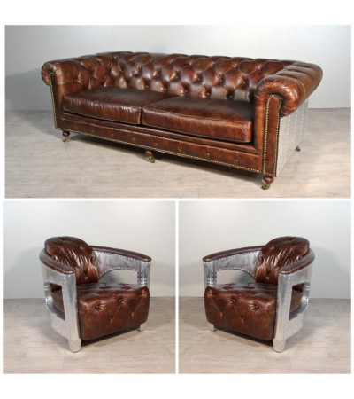 "Sofa Chesterfield ""The First"" + 2 Sessel ""Jack"" Braun Leder"