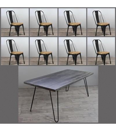 """Table de Repas """"Sixtees"""" 220 cm + 8 chaises """"Factory"""""""