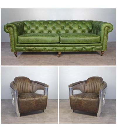 "Canapé Chesterfield Cuir vintage Green ""The First"" + 2 Fauteuils aviateurs ""Chuck"" Cuir Marron clair ""whisky"""
