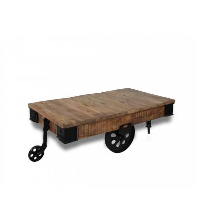 """Table basse """"Wagon"""" bois patiné et métal style usine"""