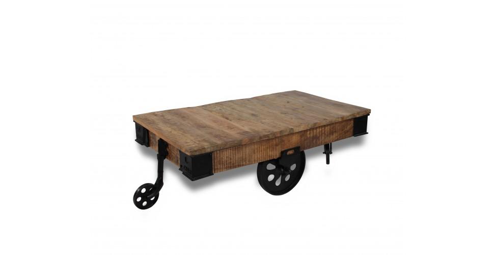 """Couchtisch """"Wagon"""" in Patina Holz und Metall Fabrik Stil"""