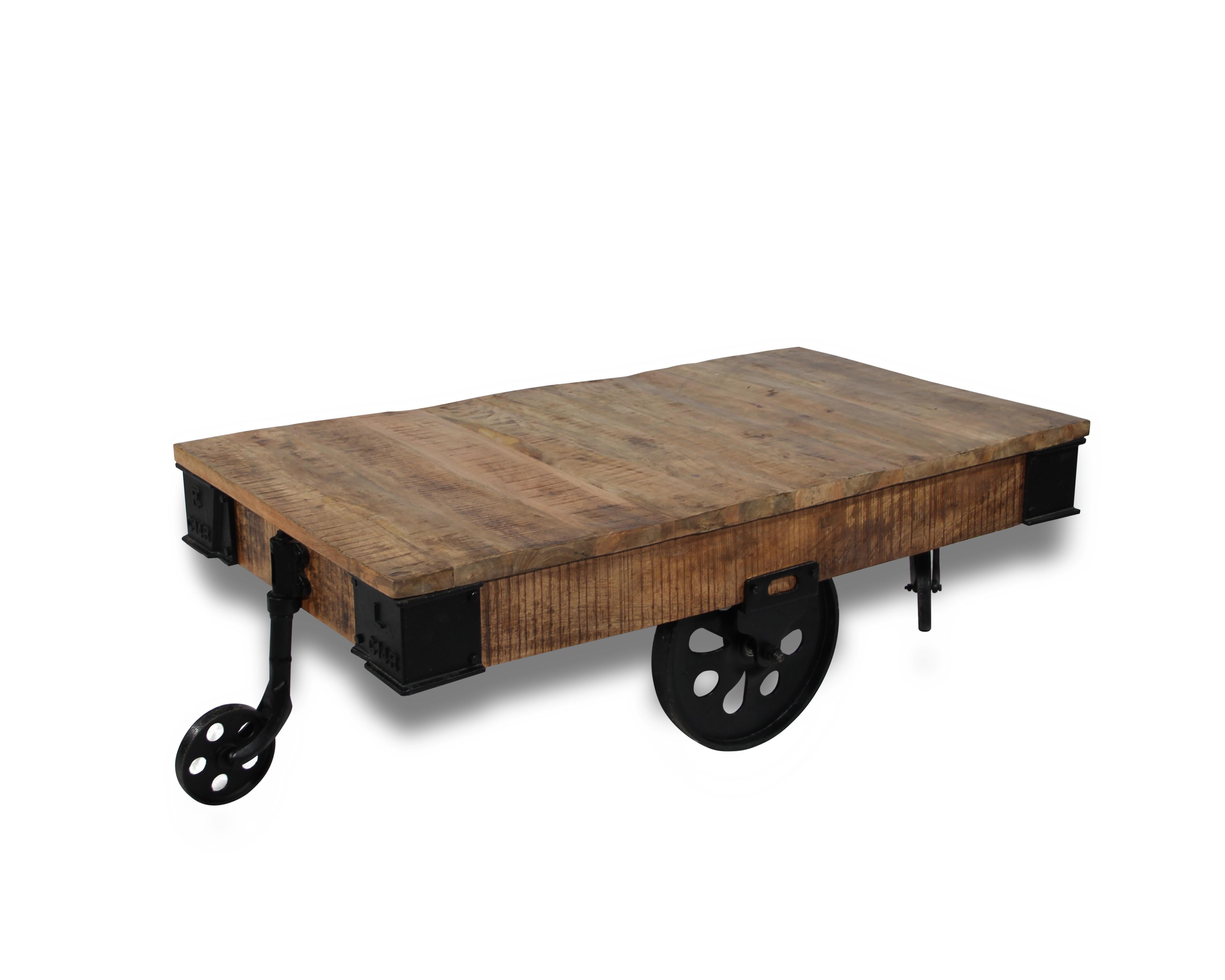Couchtisch In Patiniert Holz Und Alte Räder Metall Industrie Stil