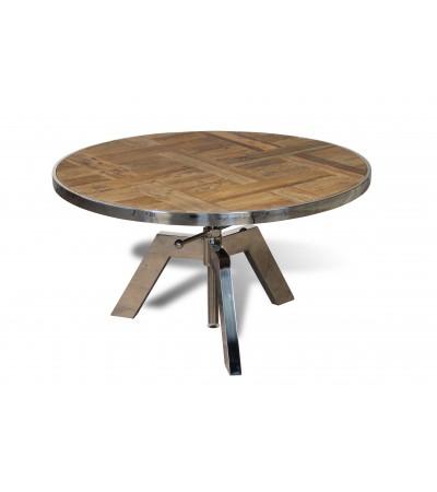 """Table basse ronde réglable """"Amy"""" bois et métal style industriel"""