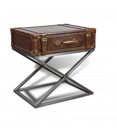 """Table d'appoint en cuir et métal 1 tiroir """"Elizabeth"""""""