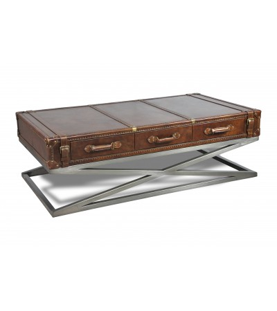 "Table basse en cuir et métal 3 tiroirs ""Emma"""