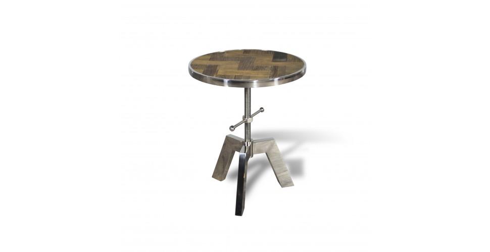 """Table d'appoint ronde réglable """"Austin"""" bois et métal style industriel"""