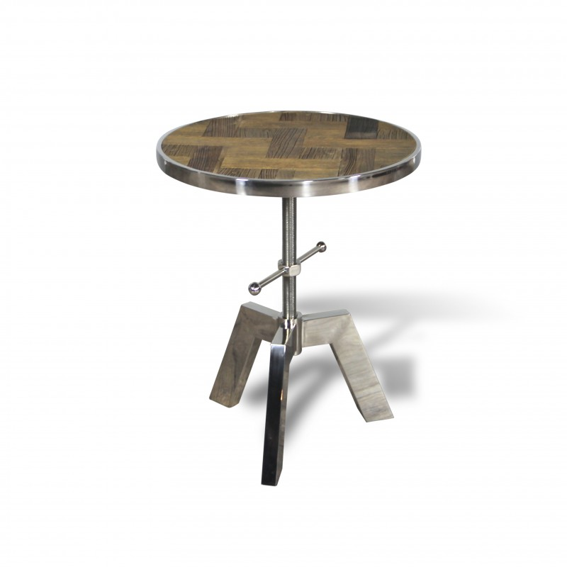 Table d 39 appoint ronde r glable en bois vintage patin et m tal for Table ronde style industriel