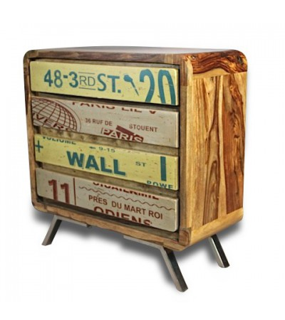 "Retro Kommode ""Sixtees"" in Holz und Metall Industriedesign"