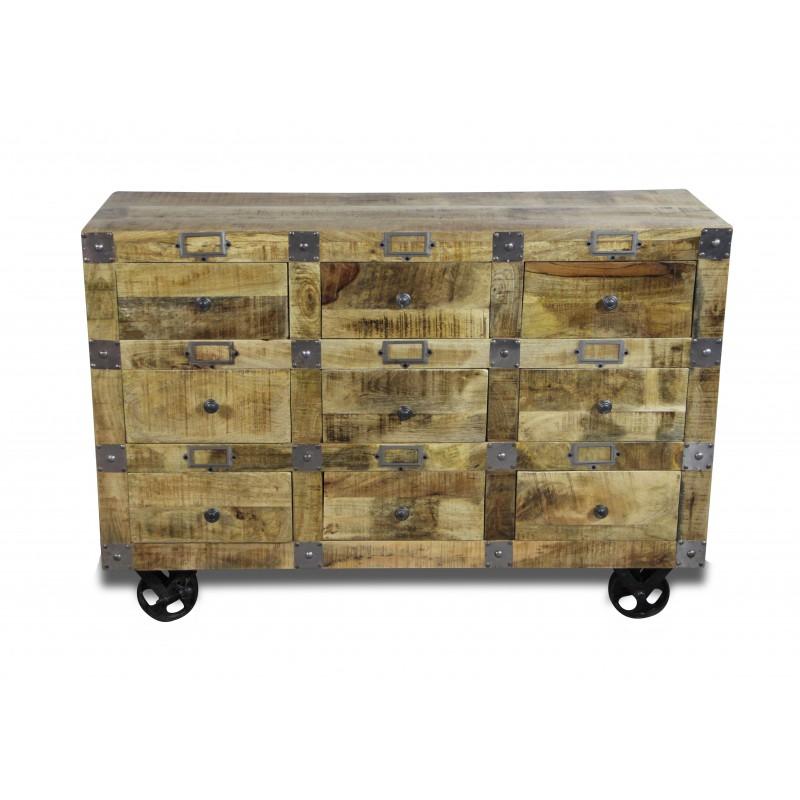 Patina Holz kommode industrie stil in patina mangoholz und alte metall