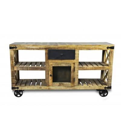 """Buffet vintage """"Epicerie""""en bois et métal style industriel"""