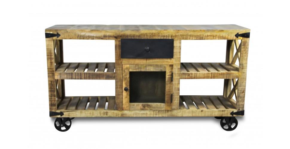 """Vintage Side Board """"Epicerie"""" Holz und Metall Industrie-Stil"""