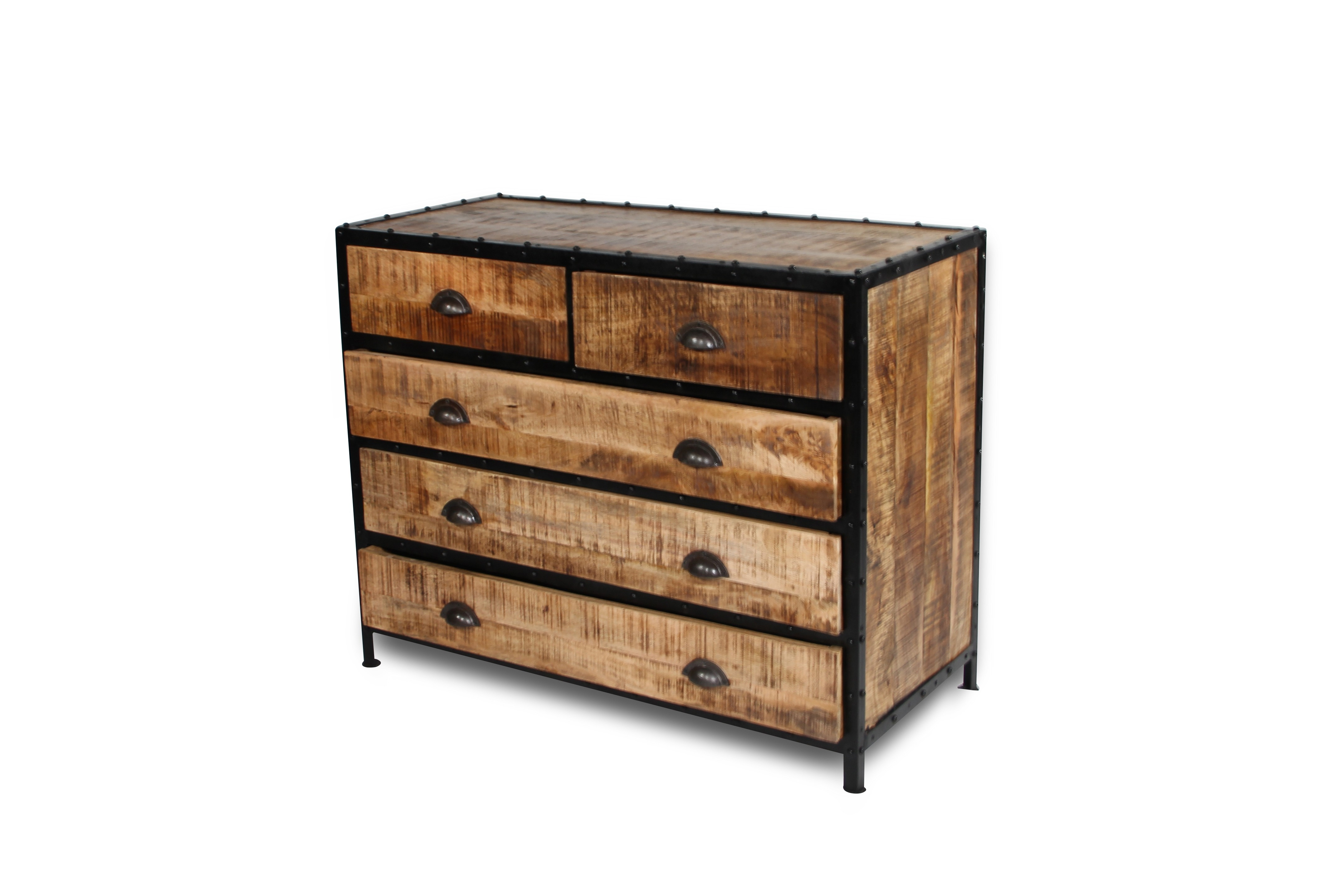 commode vintage en bois patin et m tal style loft. Black Bedroom Furniture Sets. Home Design Ideas
