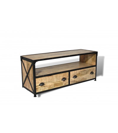 meuble tv bois patin et m tal vintage design industriel cazadeco. Black Bedroom Furniture Sets. Home Design Ideas