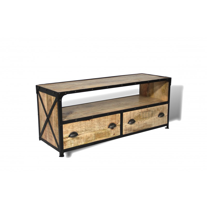 meuble tv en bois de manguier patin et m tal vieilli. Black Bedroom Furniture Sets. Home Design Ideas