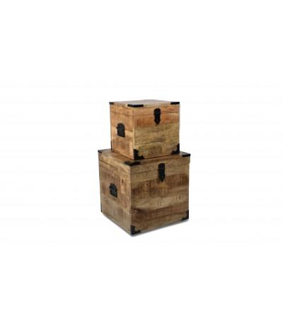 """2 Coffres vintage en bois et métal """"Arthur"""" design industriel"""