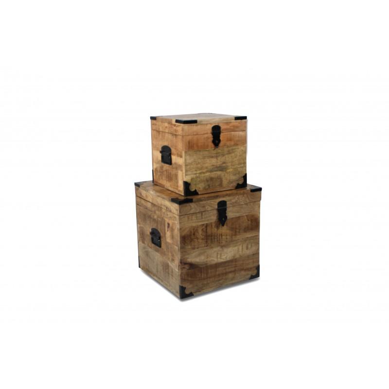 coffres bois de manguier patin et m tal de style vintage industriel. Black Bedroom Furniture Sets. Home Design Ideas