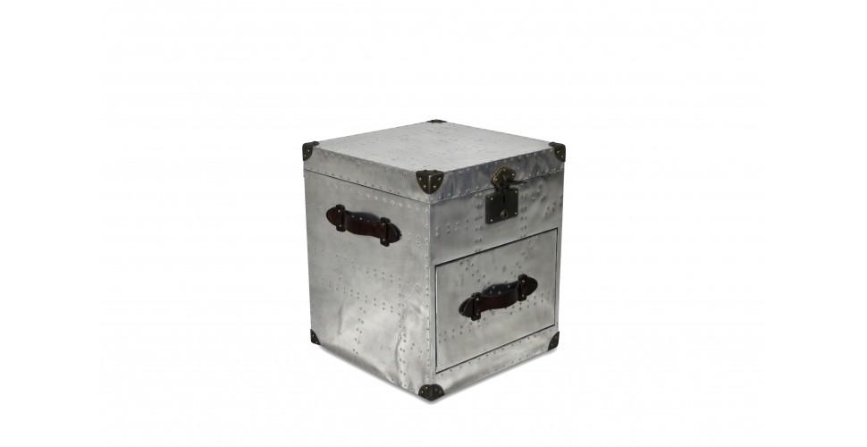 """Coffre """"Aviator"""" Aluminium et cuir marron vintage"""