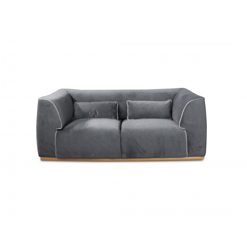 sofa 2 sitze in hellgrau samt stoff massivholz struktur capri. Black Bedroom Furniture Sets. Home Design Ideas