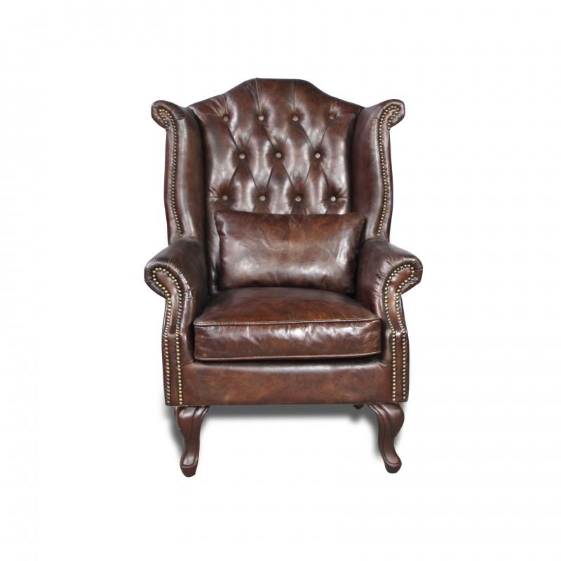 fauteuil cuir patin marron vintage capitonn oreilles et clous. Black Bedroom Furniture Sets. Home Design Ideas