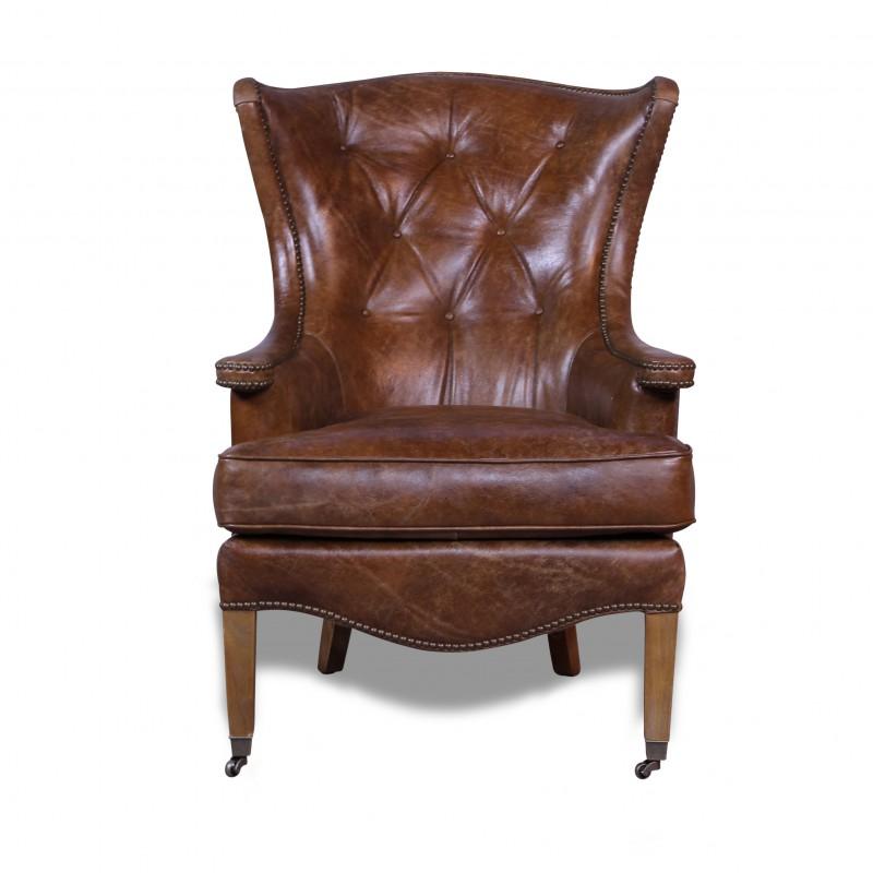 fauteuil oreilles en cuir vintage marron clair capitonn. Black Bedroom Furniture Sets. Home Design Ideas