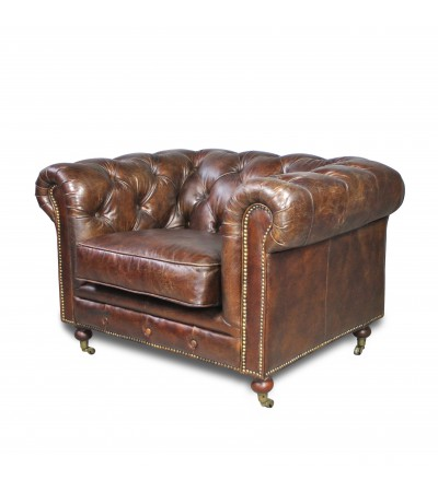 "Fauteuil Chesterfield ""The First"" Cuir Marron"