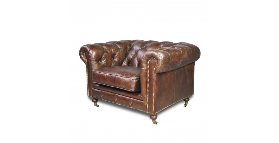 "Fauteuil Chesterfield ""The First"" Cuir Vintage Marron"