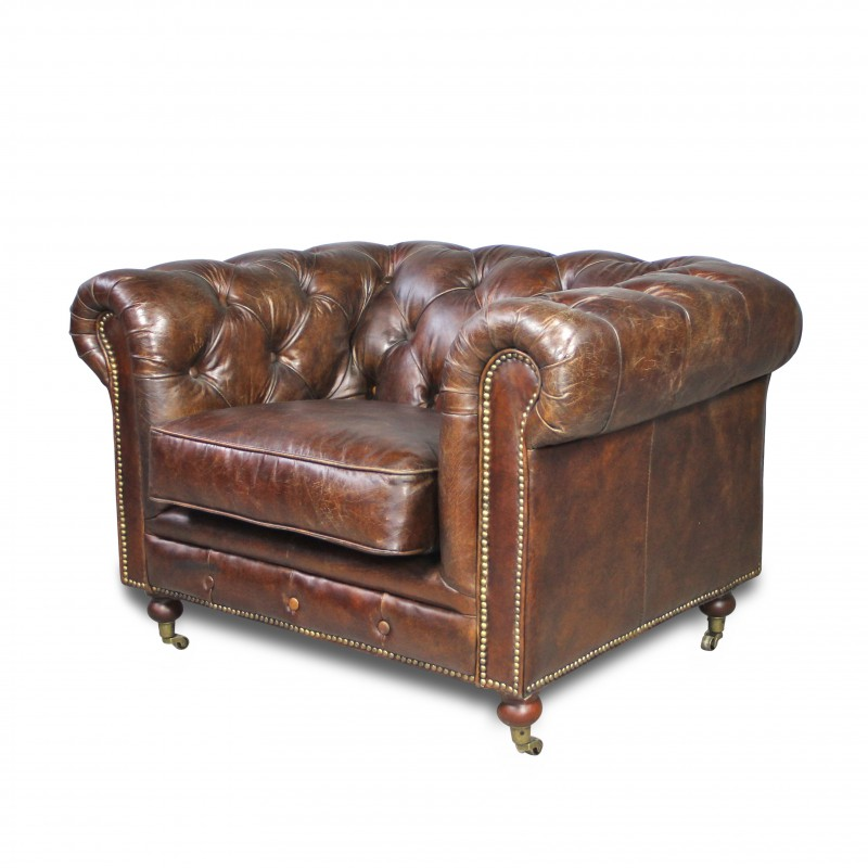 fauteuil chesterfield en cuir vintage marron patin capitonn anglais. Black Bedroom Furniture Sets. Home Design Ideas