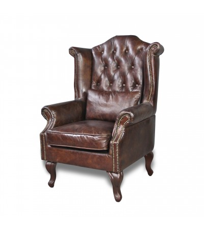 "Fauteuil Cuir Vintage Marron ""Charles"""
