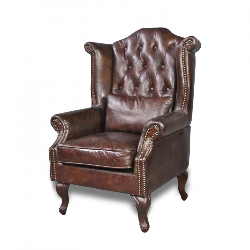 fauteuil cuir patin marron vintage capitonn oreilles et clous. Black Bedroom Furniture Sets. Home Design Ideas