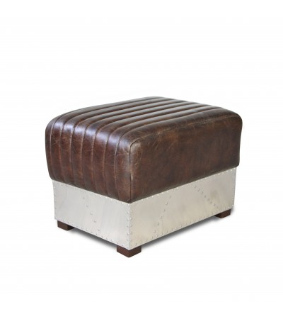 pouf repose pieds en cuir marron vintage patin et m tal. Black Bedroom Furniture Sets. Home Design Ideas