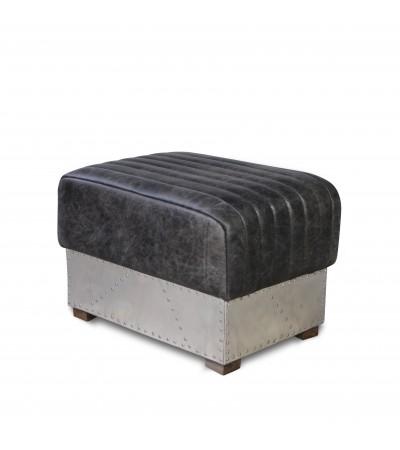 """Pouf """"St Exupéry"""" Cuir gris Vintage et métal"""