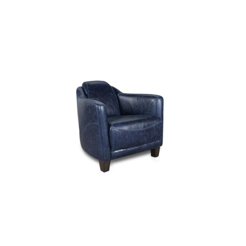Fauteuil club design en cuir vintage bleu profond patiné et vieilli