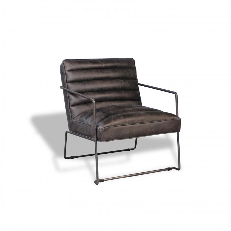 Fauteuil design en cuir gris vintage et métal