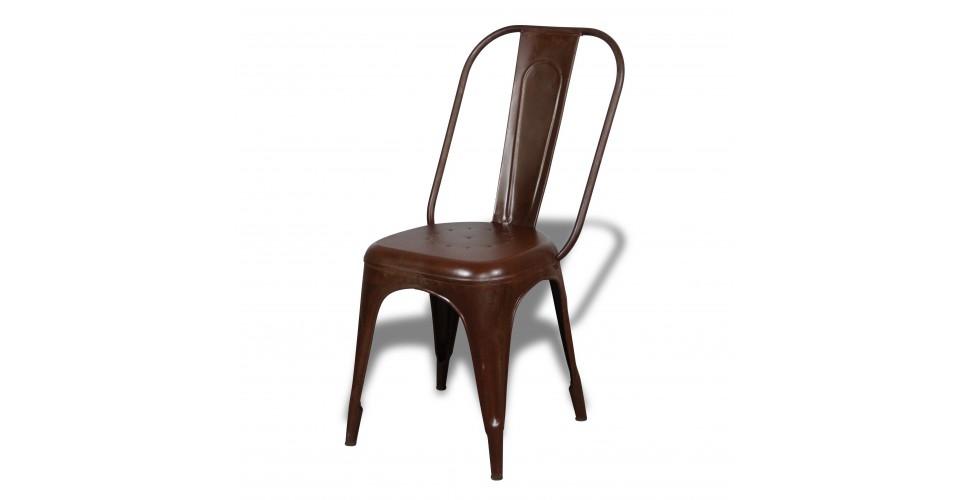 """2 x Chaises métal marron rouille """"Factory"""" style industriel"""