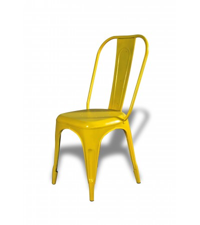 """2 x Chaises métal jaune """"Factory"""""""