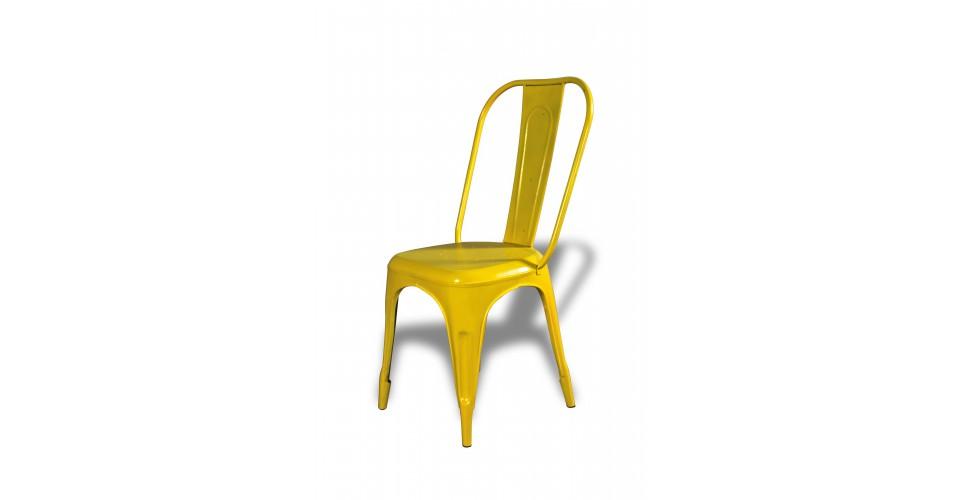 """4 x Chaises métal jaune """"Factory"""""""