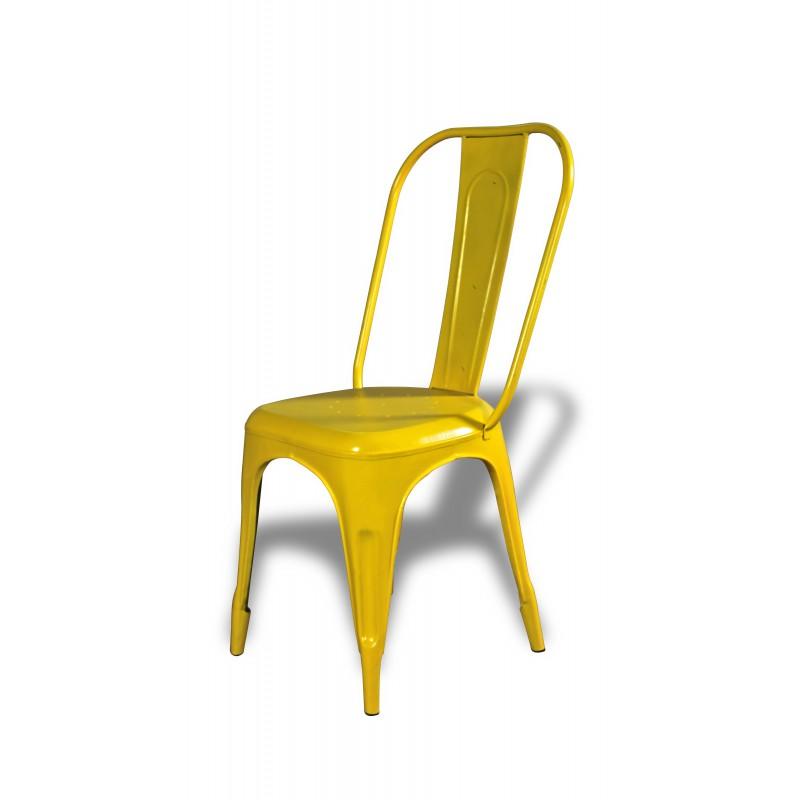 4 x chaises métal jaune factory