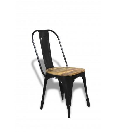 """2 x Chaises métal noir et bois """"Factory"""""""