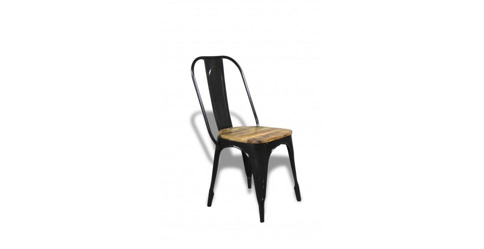 """2 x Schwarz Metallstuhlen """"Factory"""" und Holz"""