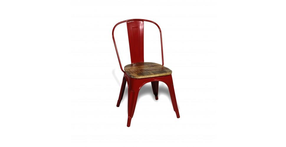"""4 x Chaises métal rouge et bois de manguier """"Factory"""", design industriel"""