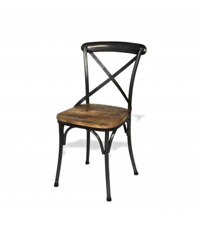 """2 Chaises """"BISTROT"""" métal antique et bois patiné, style industriel"""