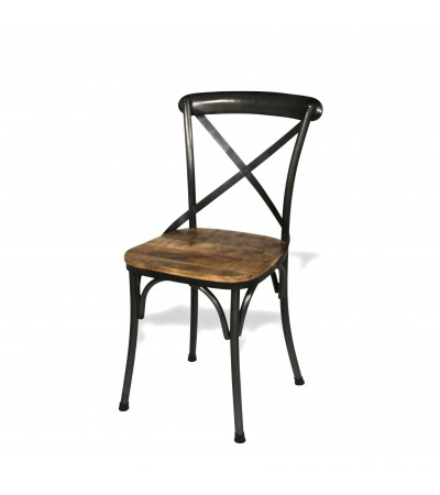 """4 Chaises """"BISTROT"""" métal antique et bois patiné, style industriel"""