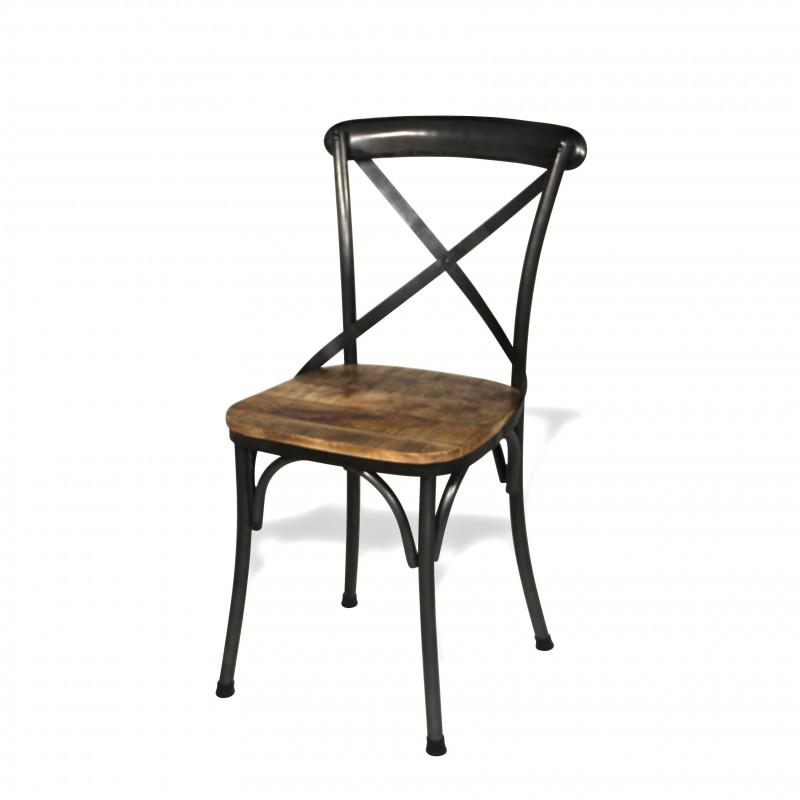 4 chaises bistrot m tal antique et bois patin style industriel. Black Bedroom Furniture Sets. Home Design Ideas