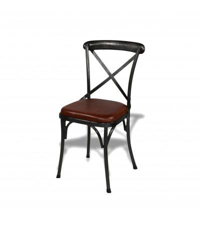 """4 Chaises """"BISTROT"""" métal antique et cuir vintage marron, style industriel"""