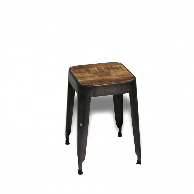 antike metall hocker mit patina holz sitze industrieller fabrik stil. Black Bedroom Furniture Sets. Home Design Ideas