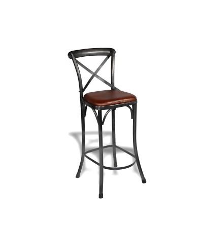 """2 x Chaises de bar """"Bistrot"""" métal antique assise cuir style industriel"""